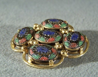 Vintage Yellow Gold Tone Designer Signed Sarah Coventry Multi Colored Enameled Pin Brooch W    **RL