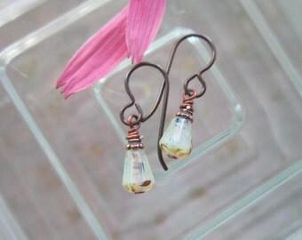 Milky Crystal Teeny Teardrop Earrings *Sale* Simple Yoga Czech Glass Earrings Little Beveled Earrings Hypoallergenic Niobium French Hooks
