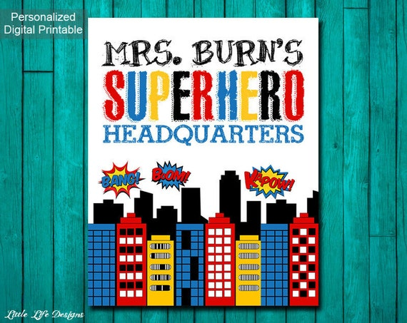 Classroom Decor Gifts ~ Superhero classroom decor gift for teacher sign