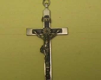 Original 1920's Roman Catholic Mission Cross Crucifix - Skull & Crossbones - Free Shipping