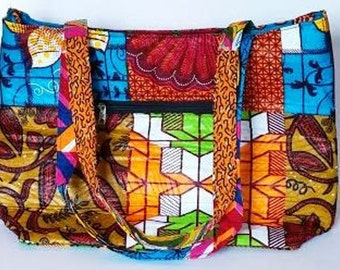 African Print Tote Bag, Made in Ghana, West Africa, 18x5x12 Inches, Multi-Color, Zip to Close