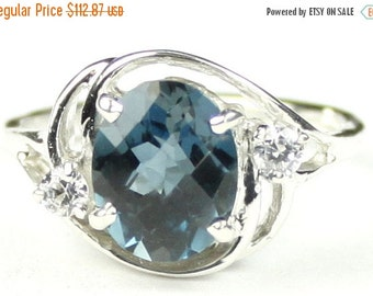 Valentines Sale 30% Off, SR021, 10x8mm London Blue Topaz, 925 Sterling Silver Ring