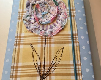 Handmade fabric notebook 3D flower cover with notebook included