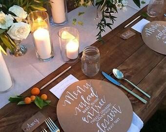 "Round Menu, Circle Menu, 8"" ROUND MENU, Kraft Brown Charger Menu, Reception Menu Cards - for weddings, bridal events, and dinner parties"