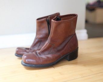 vintage brown leather western ankle boots mens 8 1/2 *