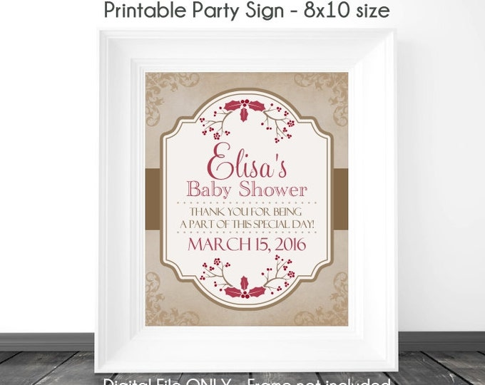 Baby Shower Printable Sign, Baby Shower Vintage Shabby Chic Printable Sign, Christmas Berries Custom Baby Shower Sign, 8x10, YOU PRINT