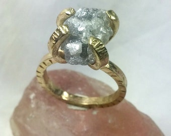 Rough diamond Ring, 7 Carat Diamond Engagement Ring, Statement Ring, Solid Gold Ancient Style Ring