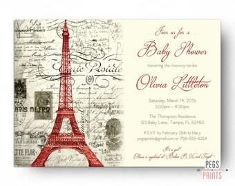 Vintage Red Paris Baby Shower Invitation (Printable) Red Parisian Baby Shower Invites // Red Paris Invitation // Invitation Gender Neutral