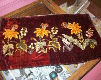 Victorian silk velvet embroidery of silk chenille pillow cover