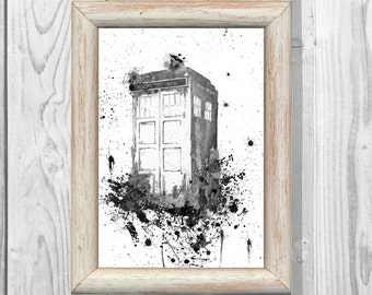 Tardis Poster  Doctor Who Poster  Watercolor illustrations  Art Print Giclee Wall Decor Art  Home Decor  Instant Digital Download