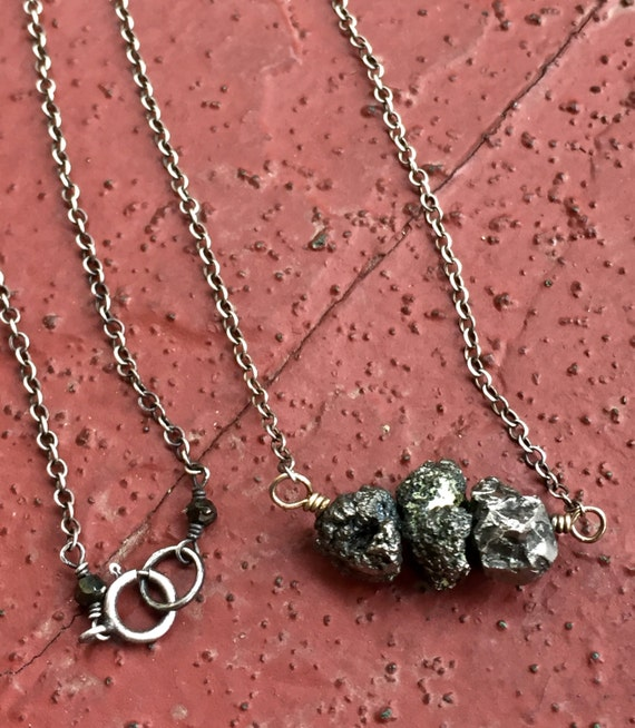 Raw Pyrite Chunky Necklace Sterling Silver Gemstone Nuggets Unisex Minimalist Fools Gold Necklace Boho Chic Mixed Metal