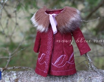 Coat for BLYTHE, handmade felt overcoat with embroidery