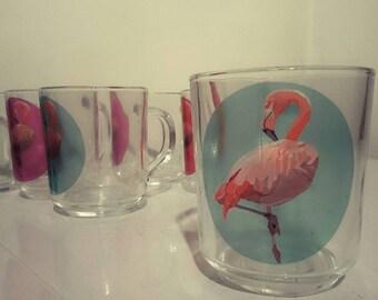 Flamingo glass mug