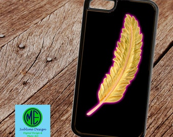 Custom Cell Phone. Cell Phone Case. Gold Feather Cell Phone Case.