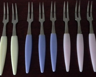 set of 8 Kitsch 'Little Forks' - Hors D'oeuvres, Pickles, Fruit, Salad - Vintage Dinner Parties, Buffets, Bar Accessory