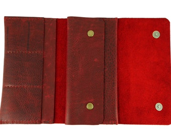 Handmade leather purse, handmade leather wallet, red leather