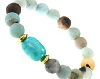 Mint Amazonite Natural Stone Stretch Bracelet, Amazonite Bead Bracelet, Mint Bracelet, Amazonite Jewelry