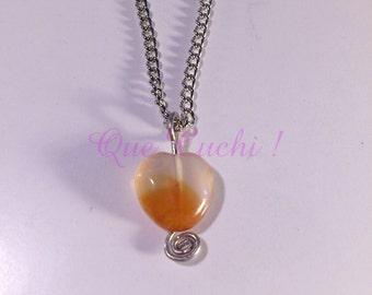 Chain with Carnelian stone Heart  pendant