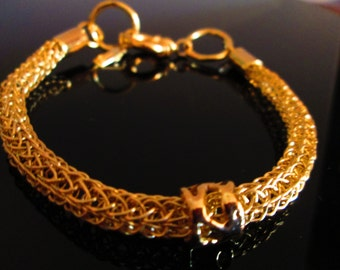 24K Pure Gold Vermeil Exotic Viking Knit Bracelet with Forged Woven Bead