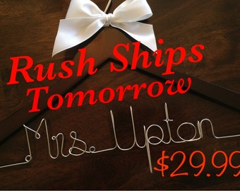 RUSH!! Wedding hanger, Bride hanger, Bridesmaid hanger, Personalized wedding hanger, Wedding dress hanger, Custom hangers