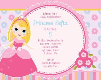 Princess Birthday Invitation, Blonde Princess, Pretty Pink Princess, Princess Invite, Birthday