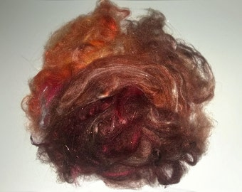 ButterSilk Fiber - Make Art Batts -Art yarn  & More- Fluffy soft and textured- Tree Bark Brown