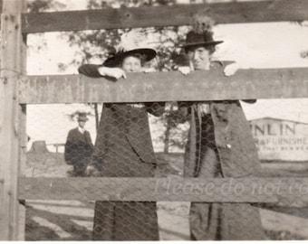 Barnyard Girls ~ Vintage Snapshot Photo ~ Rural Americana