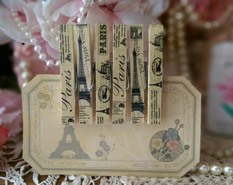 6 pc Set Decorated Embellished Clothespins PARIS THEME Gift Bag Clips, Tea Stained, Rustic, Shabby Chic, Teacher or Mother's Day Gift