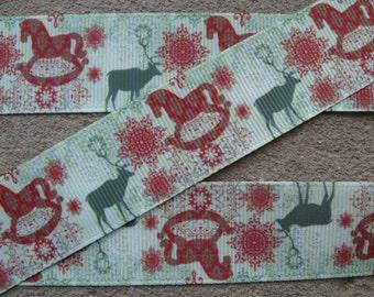 Deer ribbon Hunters ribbon Men ribbon horse ribbon green and brown ribbon grosgrain ribbon 1 inch ribbon by the yard supplies