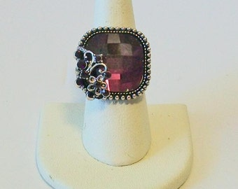 Vintage Style Square Beautiful Purple Rhinestone Fashion Ring Adjustable Band