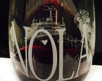 Tour of NOLA Stemless Wine Glasses Set of 2