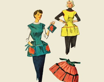 1950s Apron Pattern / Simplicity 4492 Vintage Sewing Patterns for Womens Cobbler Apron Pattern Half Apron & Pot Holder Craft Sewing Patterns