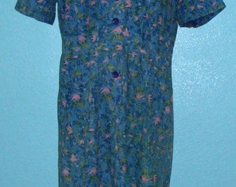 "60s Vintage Plus Size ""Fashion First"" Cotton Short Sleeve Day Dress — Size XL, 16-18"