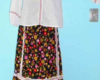 60s Flower Power Peasant Maxi Skirt with Matching Boho Hippie Festival Long Sleeve Top — Size L or 12/14