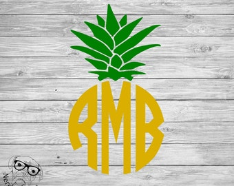 Pineapple Monogram Decal, Monogram Pineapple Laptop Decal, Monogram Decal, Pineapple Decal, Pineapple Car Decal, - You choose size