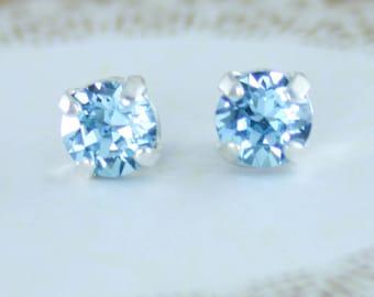 Small blue crystal earrings,small crystal earrings,small stud earrings,6mm,Swarovski aquamarine earrings,aquamarine,stud earrings,aqua stud
