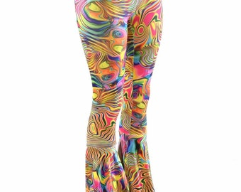 Trippy Tropical Swirl Print Bell Bottom Flares Leggings with High Waist & Stretchy Spandex Fit  152005