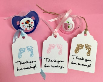 Baby shower tags, Baby shower gift tags, Baby favor tags, Thank you for coming tags, Set of 12, Baby Footprints tags, Baby girl, Baby boy