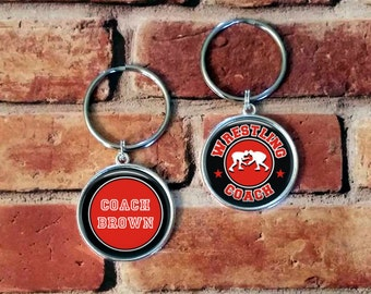 SALE! Wrestling Coach Keychain - Personalized Double Sided Key Chain