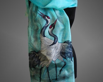 Hand painted silk scarf with a pair of cranes. Turquoise silk scarf. Bird silk scarf.  Made to order.
