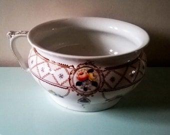 Beautiful Antique English Corona Ware Chamber Pot
