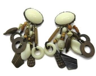 Dangling Brown Cream Vintage Beaded Clip-on Earrings