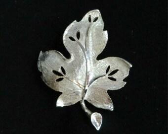 BSK Leaf Brooch, Vintage Silver Tone Openwork Leaf Matte Finish Signed BSK Pin