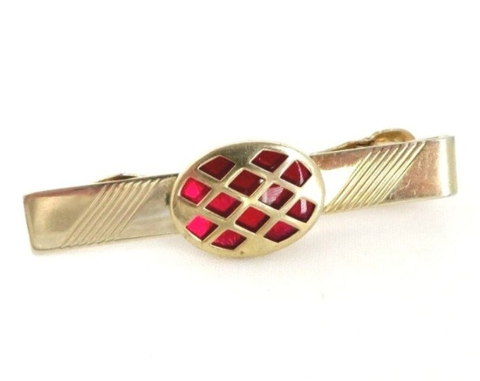 Anson Tie Clasp, Red Stone Tie Clip, Vintage Tie Bar, Gold Tone Tie Clip, Men's Suit Accessory