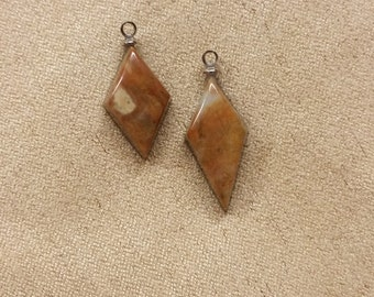 Brown Picasso Marble Diamond Cabochons/ with sterling silver eyehooks/ backed