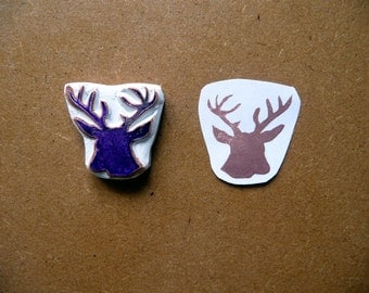 Deer Rubber Stamp, Hand Carved, Hand Made Stag Silhouette Stamp