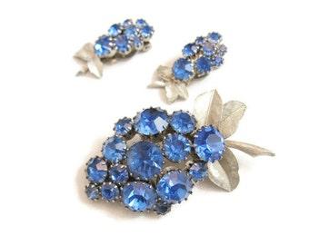 Sapphire Blue Rhinestone Brooch and Earring Demi Parure Set