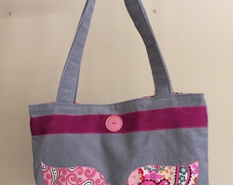 "Grey curdoroy tote bag with pink birds and vintage matching pink fabric lining.  14"" width x 10"" height x 2 1/2"" bottom with 26"" straps"