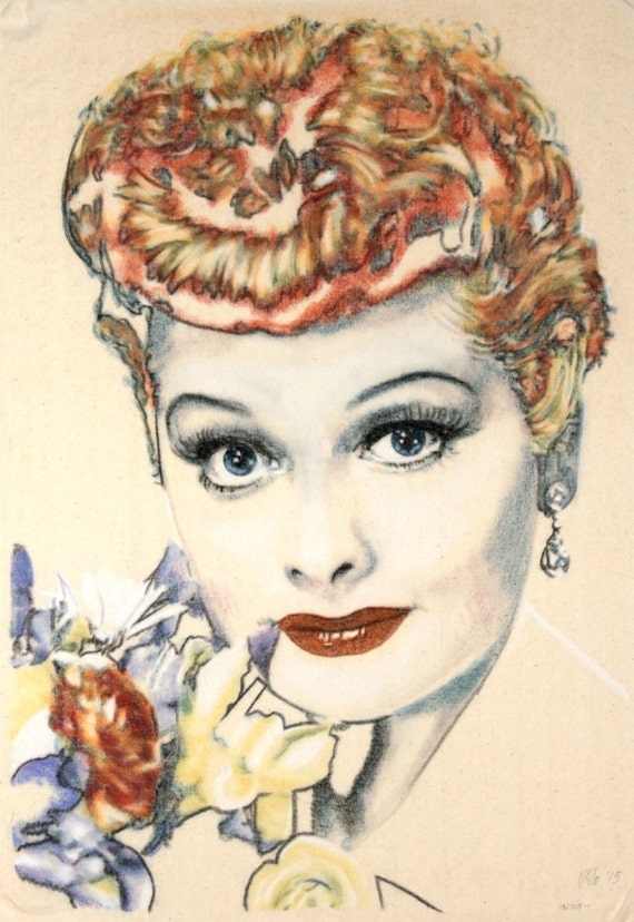 Original hand-drawn portrait of Lucille Ball holding some flowers, in charcoal and pastel on calico