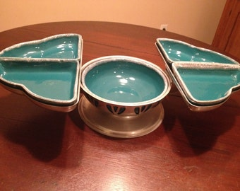Mid Century Teal Drip Glaze Pottery Expandable Lazy Susan Server Relish Tray
